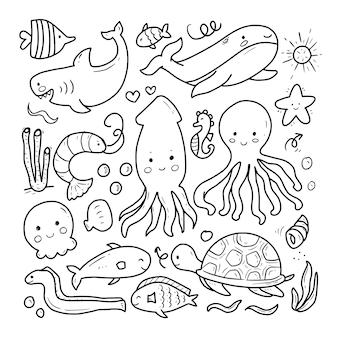 Zwierzęta morskie doodle rysunek kreskówka
