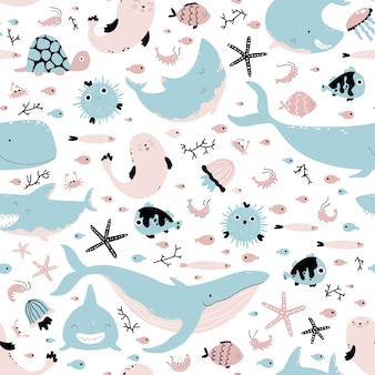 Zwierzęta morskie i ryby.