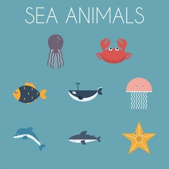 Zwierzęta morskie ikony kolekcji