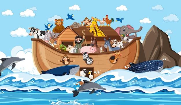 Zwierzęta na arce noego unoszące się na scenie oceanu