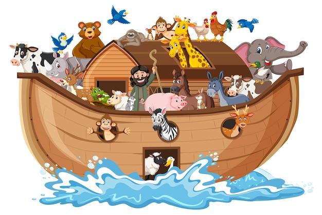 Zwierzęta na arce noego z falą morską na białym tle