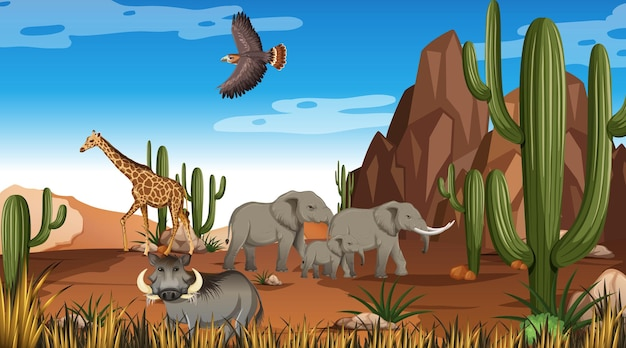 Zwierzęta na scenie krajobrazu pustynnego lasu w ciągu dnia