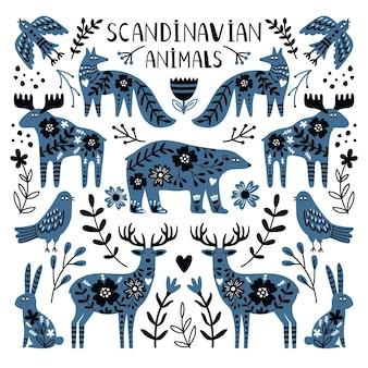 Zwierzęta nordyckie. słodkie dzikie stworzenia, niedźwiedź i jelenie obraz między gałęziami i jagody, ilustracji wektorowych zwierząt skandynawskich na białym tle