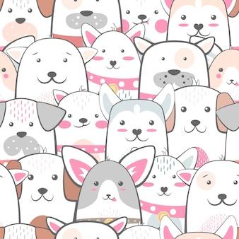 Zwierzęta, pies - ładny, zabawny wzór