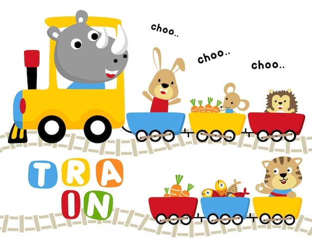 Zwierzęta podróżują z kreskówki kolorowy pociąg
