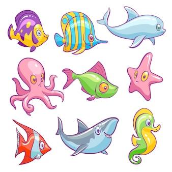 Zwierzęta podwodne śliczne morze tropikalne ryby śmieszne ocean podwodne zwierząt dzieciaki na białym tle zestaw