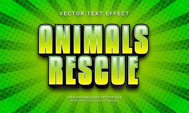 Zwierzęta ratują edytowalny efekt tekstowy z zielonym motywem kolorystycznym