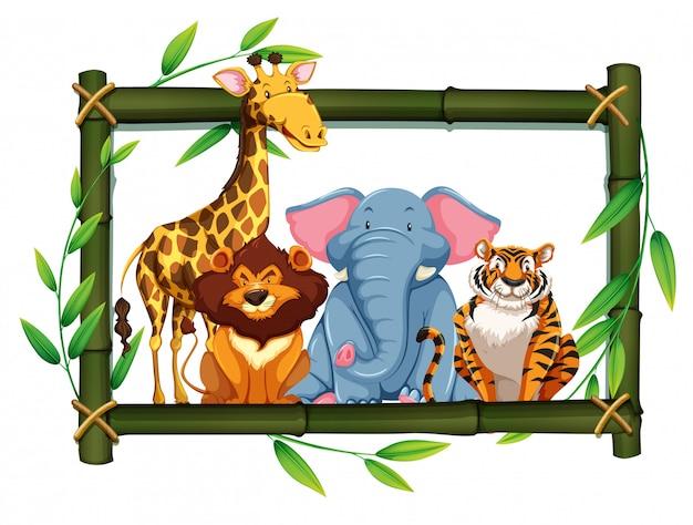 Zwierzęta safari na bambusowej ramie