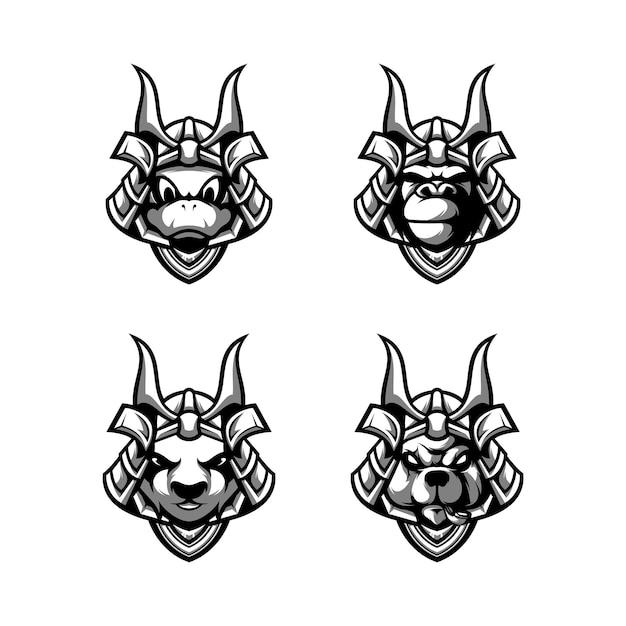 Zwierzęta samuraj czarno-białe