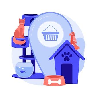 Zwierzęta sklep abstrakcyjna koncepcja ilustracji wektorowych. zaopatrzenie zwierząt w internecie, e-sklep z artykułami dla zwierząt, zakup szczeniaka, lekarstwa i karma, akcesoria dla zwierząt, kosmetyki pielęgnacyjne strona internetowa abstrakcyjna metafora.