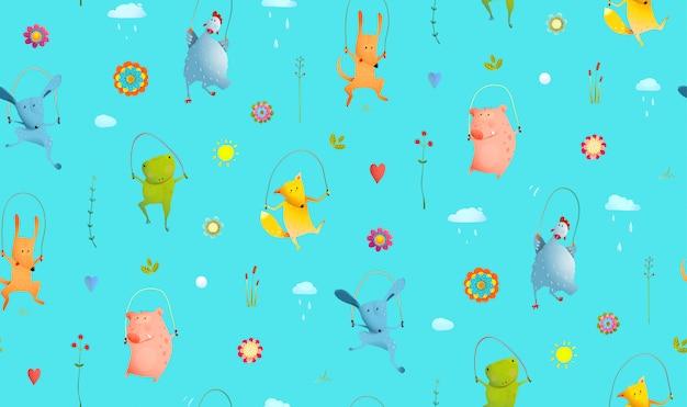 Zwierzęta, skoki przez skakankę bezszwowe tło wzór