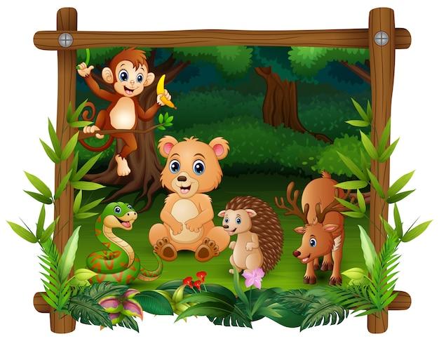 Zwierzęta spotykają się w lesie