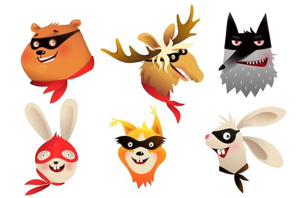 Zwierzęta superbohaterów oddzielają portrety głów noszących maskę do projektowania kostiumów dla dzieci. ilustracja odważnych postaci dla dzieci w stylu przypominającym akwarele.