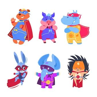 Zwierzęta superbohaterów. zestaw znaków bohaterów dziecka