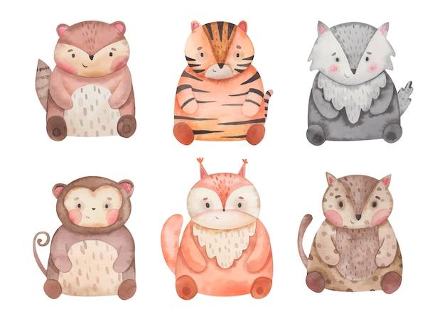 Zwierzęta tygrys, wiewiórka, małpa, jaguar, kserus, wilk akwarela ilustracja