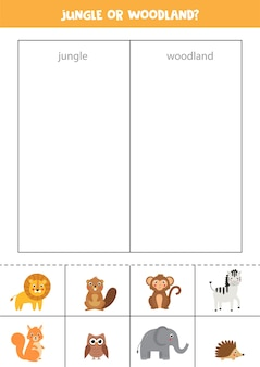 Zwierzęta w dżungli lub w lesie gra w sortowanie dla dzieci w wieku przedszkolnym edukacyjny arkusz logiczny