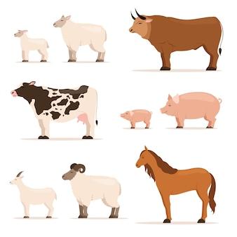 Zwierzęta w gospodarstwie. baranek, prosiaczek, krowa i owca, koza. ilustracje wektorowe w stylu cartoon