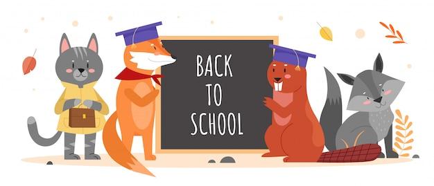 Zwierzęta w ilustracji edukacji szkolnej. animalistyczne urocze postacie z kreskówek, bóbr szop pracz kot stojący z tablicą i koncepcja edukacji tekstu z powrotem do szkoły na białym tle