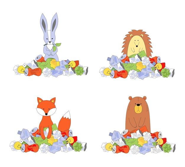 Zwierzęta w kupie śmieci. pojęcie ekologii, recykling śmieci, usuwanie odpadów. zając, niedźwiedź, jeż, lis. ilustracja wektorowa na białym tle.