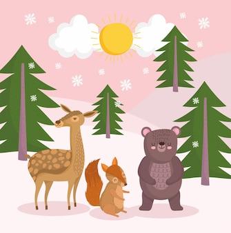 Zwierzęta w lesie zimą