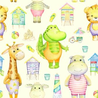 Zwierzęta w stylu kreskówki, na plaży. hipopotam, zebra, tygrys, żyrafa, krokodyl, latarnia morska, domek na plaży, wózek rowerowy z lodami.