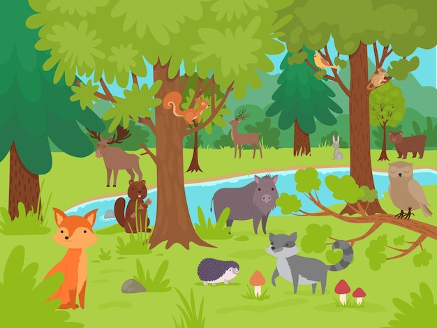 Zwierzęta w tle lasu. dzikie słodkie szczęśliwe zwierzęta żyjące i bawiące się na leśnej polanie z ilustracji wektorowych dużych drzew. zwierzęcy las, niedźwiedź, lis i jeleń, leśna przyroda