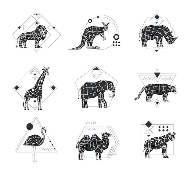 Zwierzęta wielokątne emblematy monochromatyczne