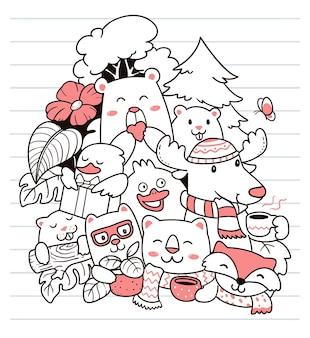 Zwierzęta witają wiosenne doodle