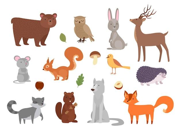 Zwierzęta z drewna. śliczne dzikie postacie w lesie fox sowa niedźwiedź wilk wektor zwierząt w płaski. sowa i lis, wilk i jeż, wiewiórka postaci i jeleń, szop pracz i ilustracja króliczka