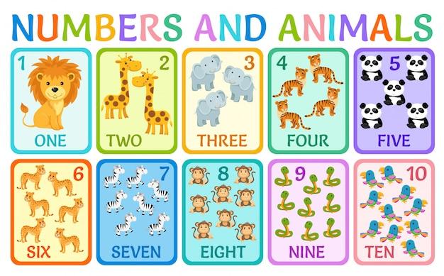 Zwierzęta z dżungli. numery kart dla dzieci.