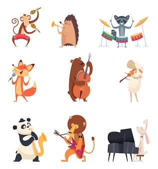 Zwierzęta z instrumentami muzycznymi. muzycy z ogrodów zoologicznych rozrywkowy uroczy zespół muzyczny z piosenkami wokalnymi