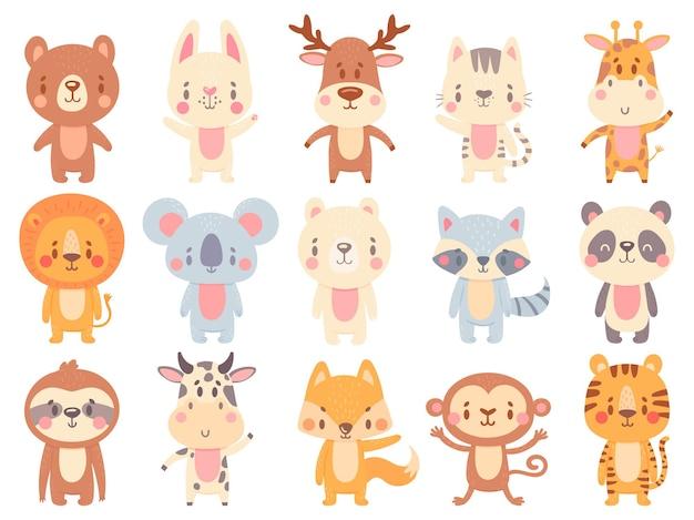Zwierzęta z kreskówek. machająca żyrafa, zabawna krowa i maskotka szczęśliwy miś.