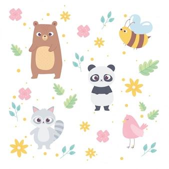 Zwierzęta z kreskówek. mała panda, szop, ptak, pszczoła i kwiaty