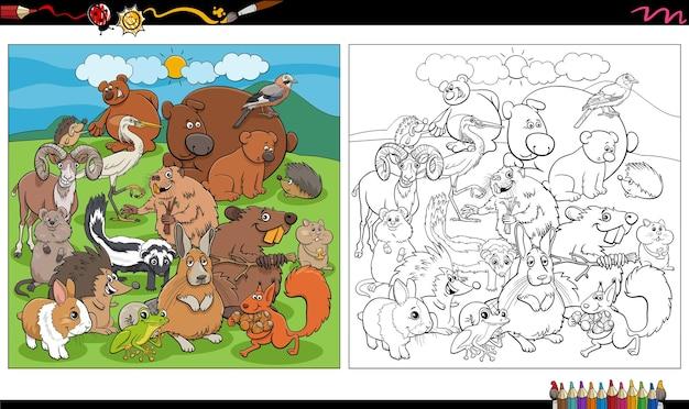 Zwierzęta z kreskówek postacie grupa kolorowanka strona