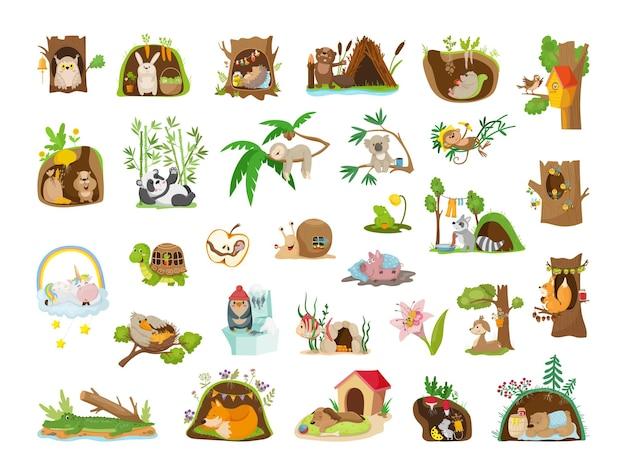 Zwierzęta z kreskówek w swoich domach