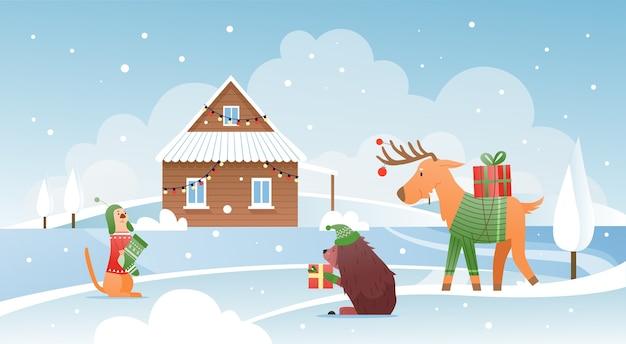 Zwierzęta z prezentami bożonarodzeniowymi w pobliżu domu śnieżna zima urocza scena