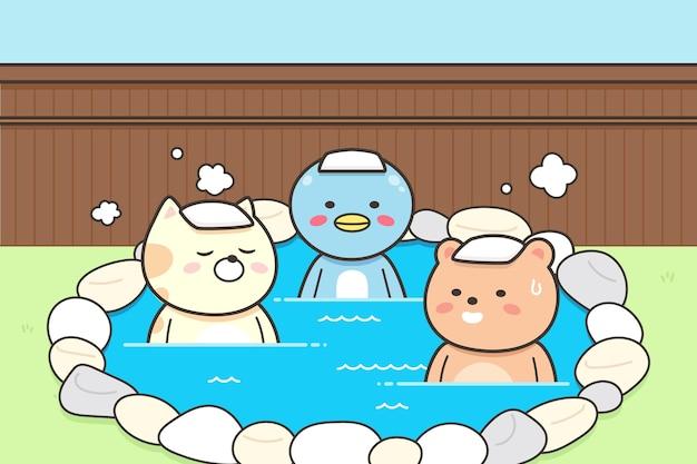 Zwierzęta z ręcznikami na głowie siedzą w onsen