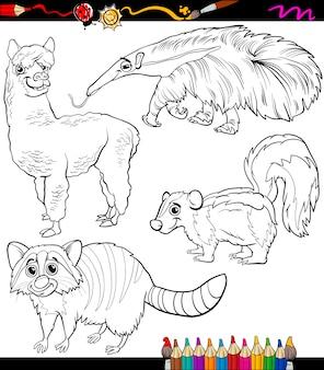 Zwierzęta zestaw kreskówka kolorowanka