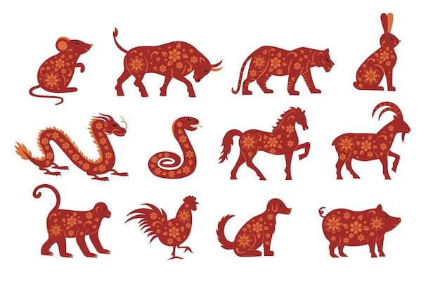 Zwierzęta zodiaku na chiński nowy rok. mysz, byk, tygrys, królik, smok, wąż, koń, koza, małpa, kurczak, pies, świnia. ilustracje.