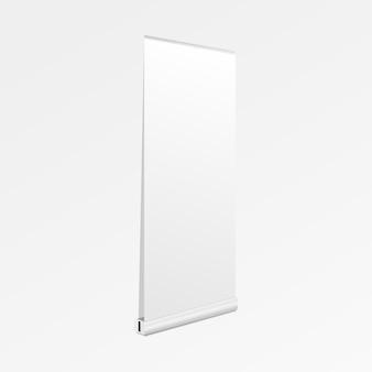 Zwijaj wyświetlanie banerów. pusty zwinąć transparent makieta na białym tle. ilustracja.