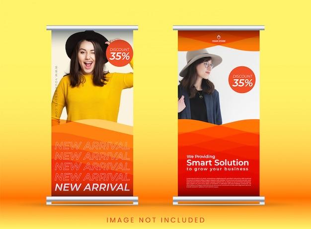 Zwiń banner lub pionowy szablon tło z pomarańczowym wzorem, na sprzedaż i promocję mody