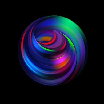 Zwiń wewnątrz koła. wirowanie pętli w perspektywie. streszczenie sferyczne logo. tylko symbol z cieniem. koła i spirala są wplecione w wiklinę. kwestia nieskończonego wszechświata.
