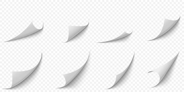 Zwinięte rogi papieru. zakrzywiony róg strony, zawinięcie krawędzi strony i gięty arkusz papieru z realistycznym zestawem ilustracji cienia