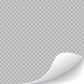 Zwinięty przezroczysty zaokrąglony róg strony z cieniem na białym tle. pusty arkusz papieru.