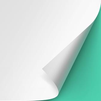 Zwinięty róg papieru na białym tle zielone tło