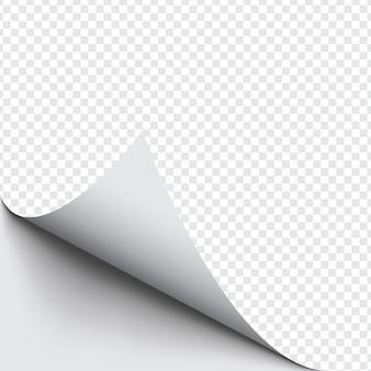 Zwinięty róg papieru na przezroczystym tle z miękkimi cieniami, realistyczna makieta strony papieru.