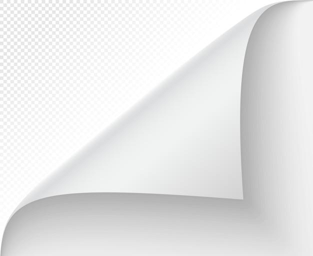 Zwinięty róg strony. notatka wektorowa i odwracanie strony, zwijanie pustej wiadomości, krawędź cienia naklejki, arkusz skręcony i zwinięty ilustracja