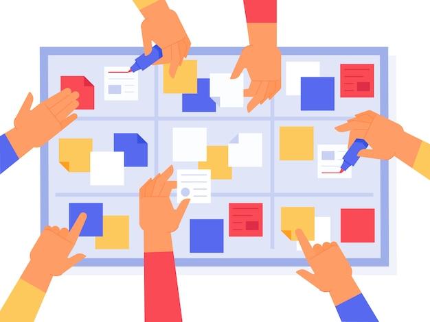 Zwinna deska. zadania sprintu scrum, zarządzanie pracą kanban i status projektu priorytetowego. strategii biznesowej codziennego zadania wektoru ilustracja