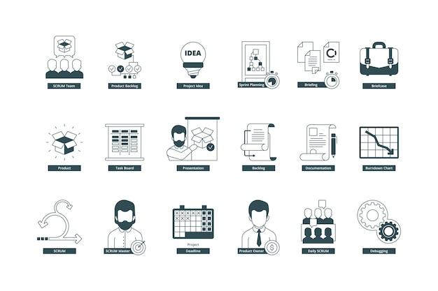 Zwinność. metodologia scrum profesjonalne spotkanie konferencyjne mistrz agile kolekcja. ilustracja metodyka zwinna, spotkanie konferencyjne oraz pomysł na rozwój