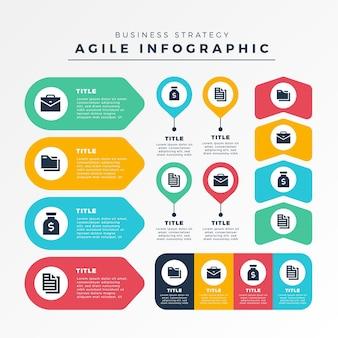 Zwinny infographic kolekcja elementów szablonu
